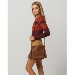 Bags - Simple Chic Brown Tassel Crossbody Bag